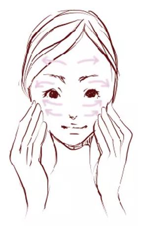 顔に手をあて優しく内側から外側へ伸ばす